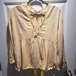 American Eagle Yellow Embroidered Peasant Top